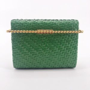 Vintage Green & Gold Rodo Wicker Clutch Italy